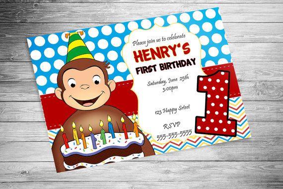 Curious George Birthday Invitation - 10 pack
