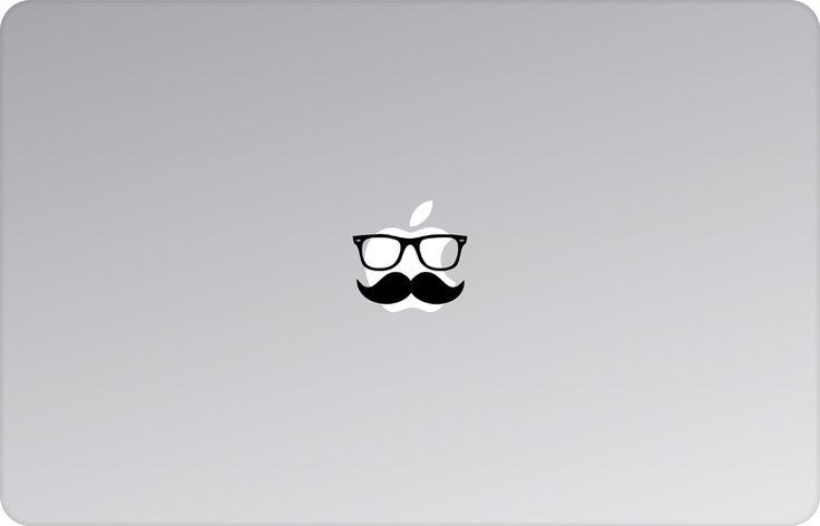 Hipster Apple Decal by #skinsutra  #apple #hipster #moustache #mustach #moustacheandglasses #glasses #geek #clerk #indian #vinyldecal #vinaldesign #vinyl #appledesign #macbook #macbookdecal #appledecal #macbookskin #appleskin #laptopskin