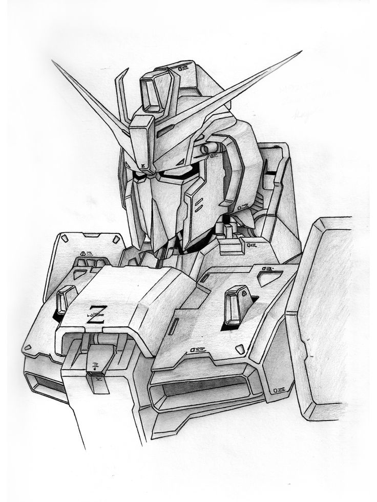 "17.	Jerry He, Grade 12, ""Zeta Gundam"", pencil and graphite, paper, 9""x12"""