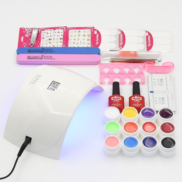 nail set 24W SUN 9S UV lamp nail dryer & 12pcs different color pure gel nail polish matter top base coat nail tools manicure set