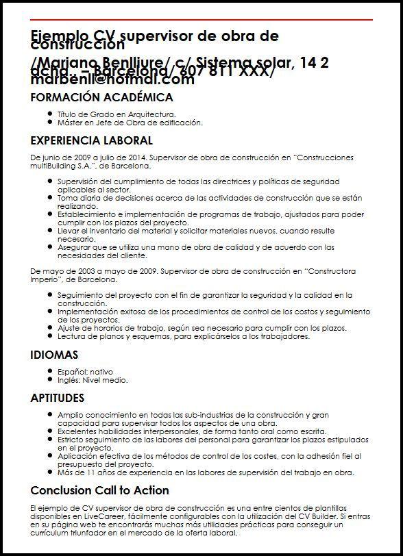 Ejemplo Cv Supervisor De Obra De Construccion Micvideal Modelos De Curriculum Vitae Ejemplos De Curriculum Vitae Curriculum Vitae