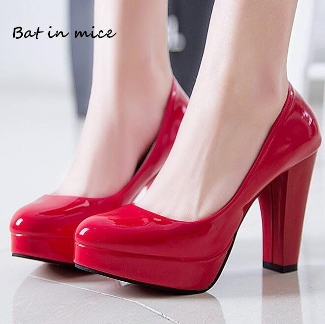 New women Pumps Shoes Women PU Leather Shallow Slip-On Round Toe High heels  Wedding Party derss shoes mujer plus size 34-42 W231 005d29a2273f
