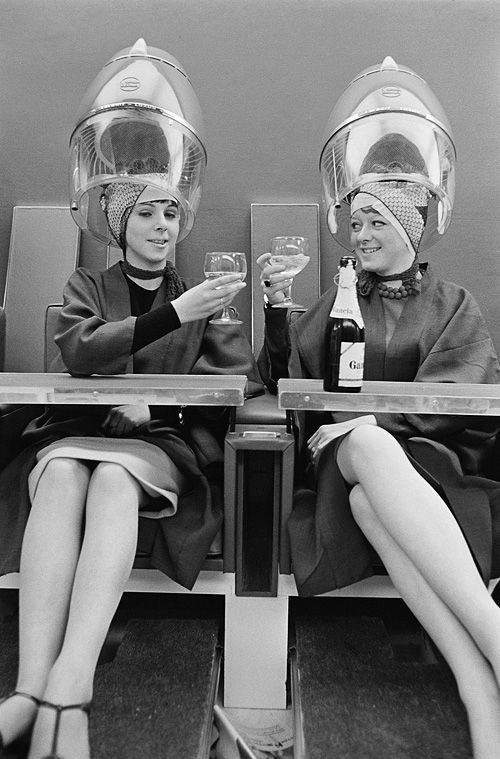 The brain probe was not going well and introducing alcohol to the subjects only made a flat-line slightly 'hiccup'. (Ladies at the hairdressers, photographed by Phillip Townsend, London, 1960s.)