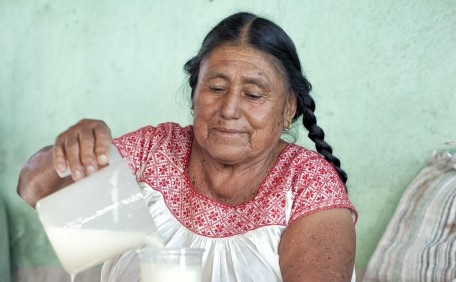 a woman of indigenous, ethnic Ñañu  selling Pulque, the drink of the gods