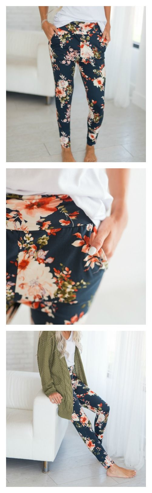 Floral Garden Bottoms via Mindy Mae's Market  ||  floral, joggers, comfs, leggings, floral leggings, casual, comfy, fall outfit, sweater, cardigan, clothing, fashion, style, outfit, outfit ideas, fall