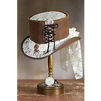 Steampunk Havisham Leather Top Hat BROWNWHITE Size Medium 22.25quot circumference $359.00 AT vintagedancer.com