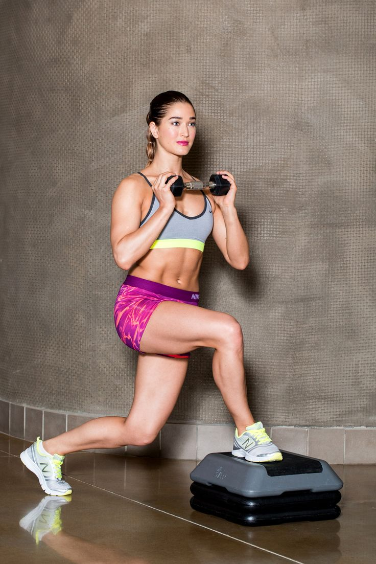 Set 4: Do exercise A on both sides then, perform exercise B on both sides. Repeat the entire set for a total of two times.A) Curtsy Lunge With Side Knee LiftTargets: quads, glutes, and core Begin standing behind a small bench, holding a single dumbbell (as heavy as you can handle) at chest-height. Place your right foot on the bench and lower into a curtsy lunge by bringing your left ...
