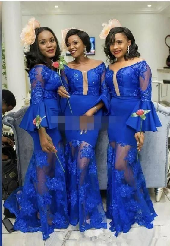 878b020012 Royal Blue African Mermaid Bridesmaid Dresses Lace Stain Long Bell ...