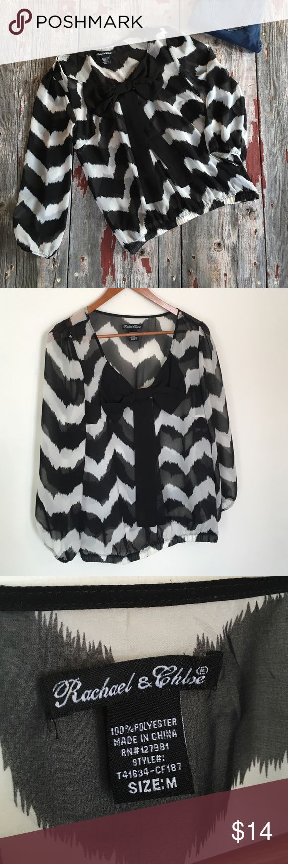 Flowy Chevron Blouse Chevron Shirt, LIKE NEW, NO snags. Cute bow accent on front of top. Size Medium. Comes from a smoke free home! Tops Blouses