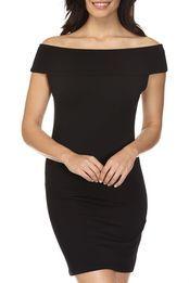 kn tuula off-the-shoulder dress, BLACK