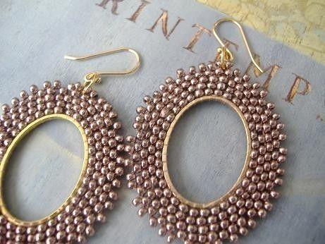 Seed Bead Hoop Earrings - Marvelous Mauve Oval Dangle Beaded Earrings. $20.00, via Etsy.