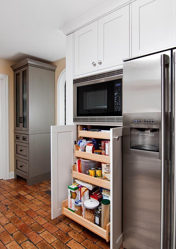 53 Mind-blowing kitchen pantry design ideas - like the corner cabinet paint color - the storage under the microwave is okay too if we wanted a built in oven but might just prefer drawers for pots and pans or whatever
