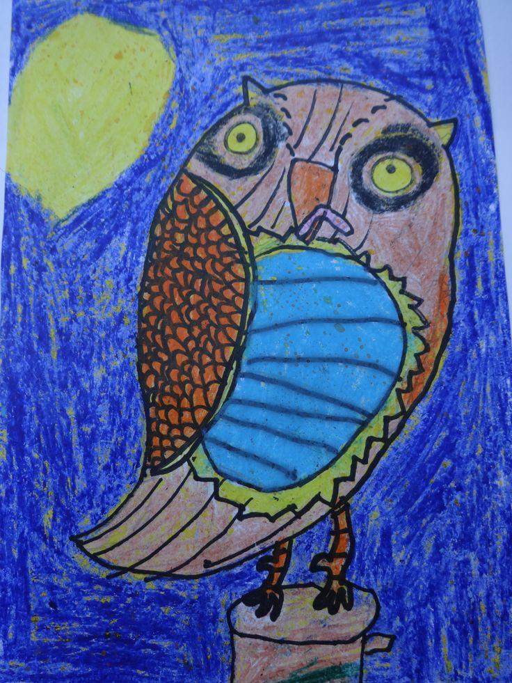 Manon tekende deze prachtige uil (2de leerjaar)