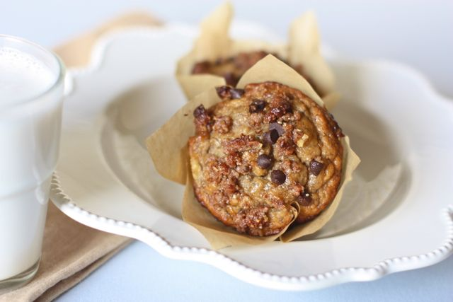 Banana Muffins with Chocolate Chip Streusel Topping #AgainstAllGrain  [use homemade raw sunflower seed flour and sunflower seeds in this recipe to make nut free. If you use sunflower seeds, add a squeeze of lemon juice to the batter to stop it from turning green]