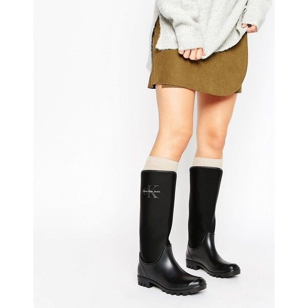 Calvin Klein Jeans Pilot Wellington Boots (€150) ❤ liked on Polyvore featuring shoes, boots, black, black wellington boots, black rubber boots, slip on shoes, slip on rubber boots and black boots