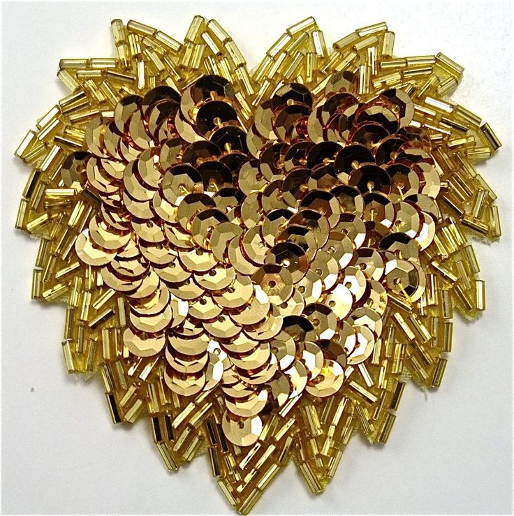 """Designer Motif with Gold sequins and Beads 3"""" x 3"""""""