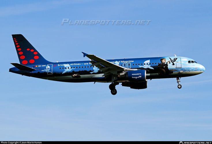 Brussels Airlines Airbus A320-214 OO-SNC aircraft, painted in ''Rene Margritte'' special colours Mar 2016, with rhe inscription ''we fly you to the home of Margritte'' on the airframe, on short finals to Belgium Brussels International Airport. 05/05/2016.