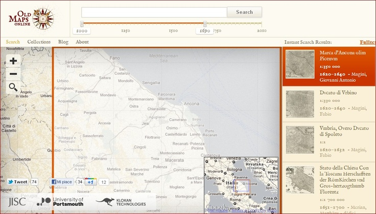 Navigare su mappe antiche: Old maps Online