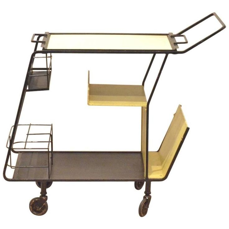French Mid-Century Design Mathieu Matégot Black and Yellow Metal Serving Trolley | From a unique collection of antique and modern bar carts at https://www.1stdibs.com/furniture/tables/bar-carts/