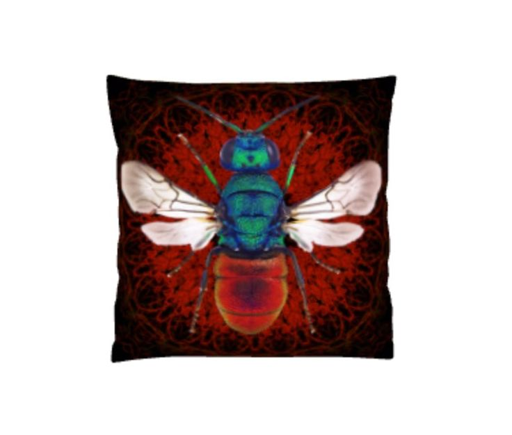 Spirograph insect cushion (Black/Red)
