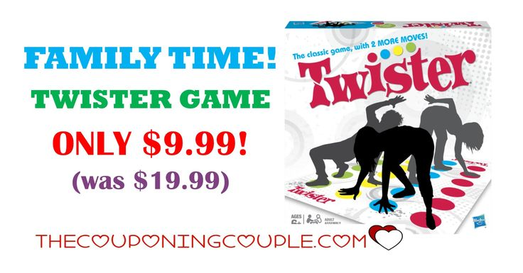 FAMILY TIME! Perfect game for all that family time that is coming up shortly. Get the Twister Game for ONLY $9.99 (was $19.99)!  Click the link below to get all of the details ► http://www.thecouponingcouple.com/twister-game/ #Coupons #Couponing #CouponCommunity  Visit us at http://www.thecouponingcouple.com for more great posts!