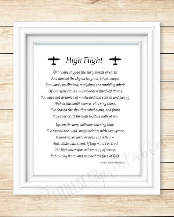 photograph about High Flight Poem Printable named Aviation quotation, printable wall artwork, Substantial Flight printable
