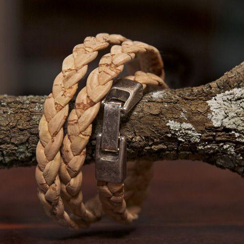 Natural Cork Plaited Tri bracelet - Silver Ribbon Gifts