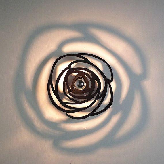Modern Novelty Mini Black Rose Flower Shadow Ceiling Lamp Flush Mount Sconce Night Light for Hallway Bedroom Led Bulbs