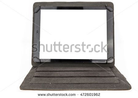 Tablet with black standing case and blank screen, on white background.