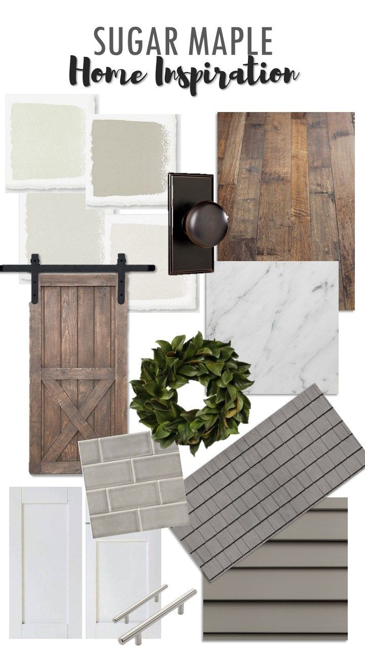 SUGAR MAPLE home design inspiration for our new build! (farmhouse style) Gray Siding, Cedar Impressions, White, Gray, Oil Rubbed Bronze Fixtures and Hardware, Subway Tile, Rustic Wood Floors