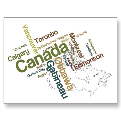 Canada Map Postcard