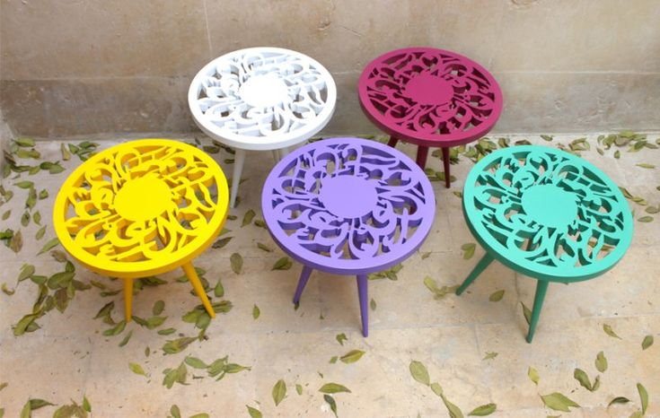 AlHoush House of Arab Art and Design | Dina Gildeh | Wood Calligraphy Side Table