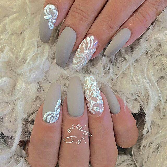 Matte Taupe Gray + White Sugar Effect Long Coffin Nails #nail #nailart