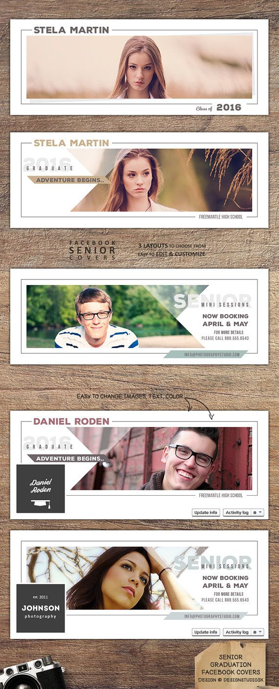 2x creative facebook covers to announce graduation in style and 1x senior mini sessions facebook cover to promote your senior photography sessions. #photographymarketing #graduationannouncement #seniorminisessions