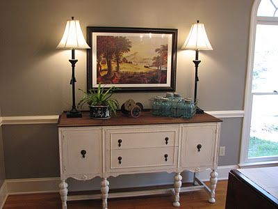 gorgeous buffet. love the stained top and painted body.