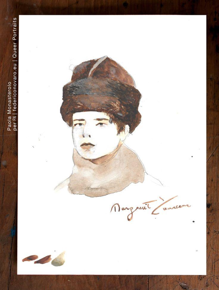 MARGUERITE YOURCENAR, di Paola Monasterolo. QUEER PORTRAITS, 33. - feat. Federico Boccaccini www.federiconovaro.eu