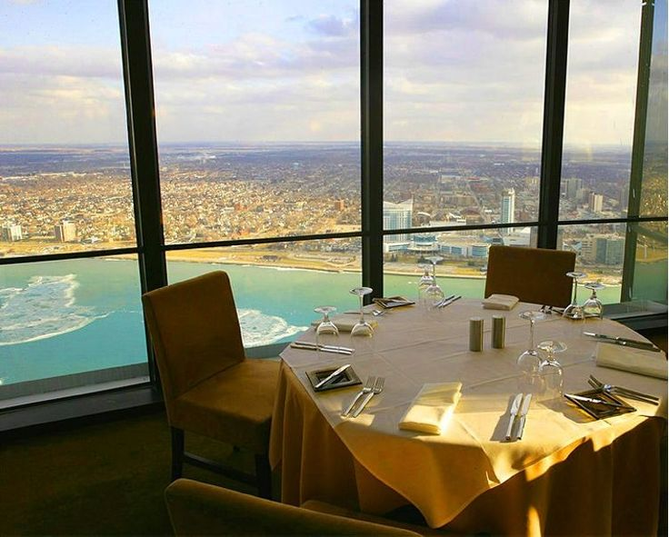 Coach Insignia revolving restaurant on the 72 floor of the GM Towers Renaissance Center's main tower. 360 degree, 30 mile views on a clear day.  The glass enclosed elevator ride up the side of the tower is a thrill!!! One of the highlights of my visits to my aunts!