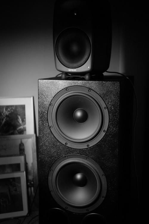 Genelec powered monitors on top of diy Sub-woofer with dip room boundary compensation