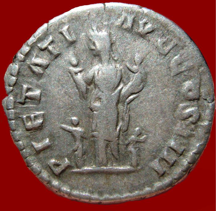 Roman Empire - Antoninus Pius (138 - 161 A.D.) silver denarius (3,58 g, 18 mm ). 160-161 A.D. Rome mint. PIETATI AVG COS IIII.