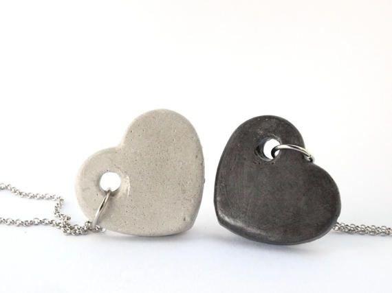 Silver love necklaces for couples Matching heart necklaces by shooohsJewelry on Etsy  - Beautiful set of 2 matching heart necklaces, the heart pendants are made from concrete to cherish your love forever.