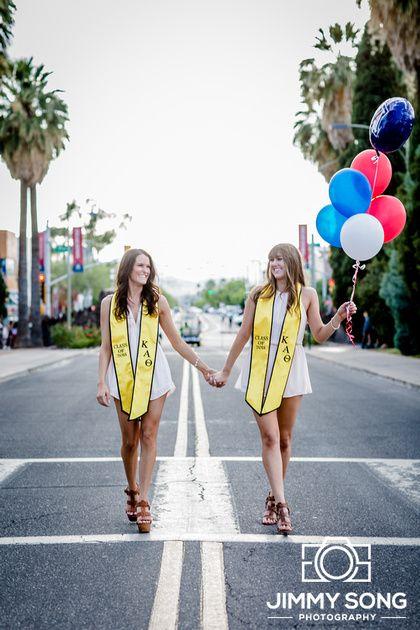 University of Arizona Senior Graduation Grad Photo Portraits Idea Fun Smile Happy Sorority Dress Pose Cap Gown Balloon Kappa Alpha Theta