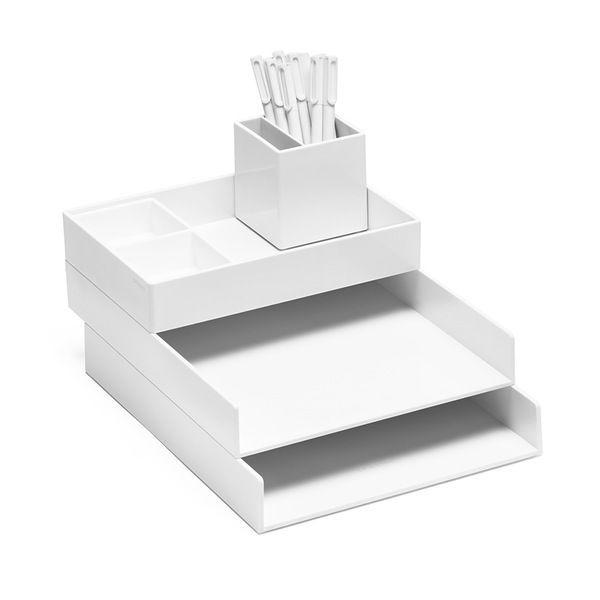 White Super Stacked Desk Set Modern Office Supplies Desktop Organization