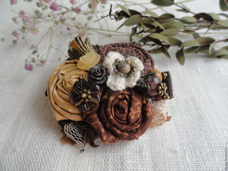 Купить Текстильная брошь Шоколад - коричневый, шоколадные оттенки, брошь, брошь ручной работы
