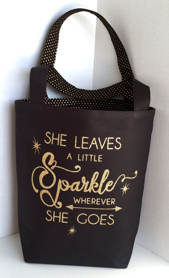 Canvas Tote Bag With A Sparkly Quote Bag Black Canvas Gold