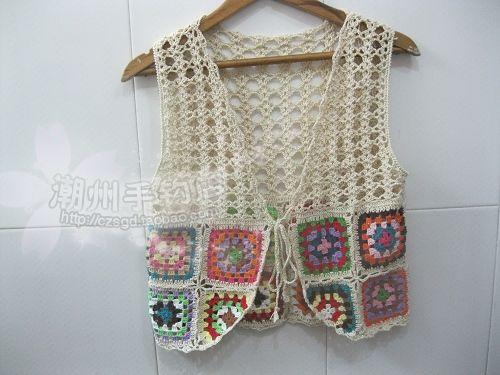 Cheap Crochet Granny Square sin mangas, hechos a mano de ganchillo chaleco con flecos, Beach Cover up, Bolero de la chaqueta, Compro Calidad Camisetas de Tirantes directamente de los surtidores de China: &nbsp
