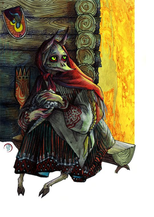 "Kikimora (rus. Кикимора) — perhaps one of the most popular representative of the demons in Russian folklore, one of the household spirits. All the ""unholy"" children — the ones who died before baptism, cursed by their parents, etc — were believed to become kikimoras after death."