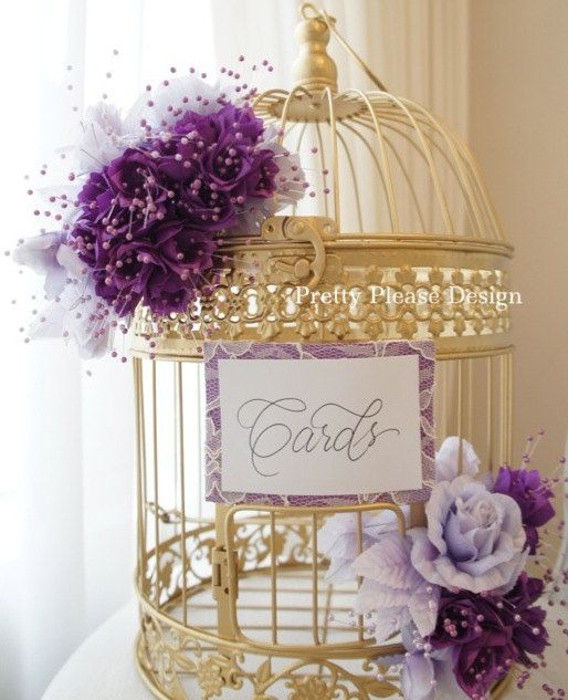 Birdcage Wedding Card Holder  | Pretty in plum + purples by prettypleasedesign, $95.00