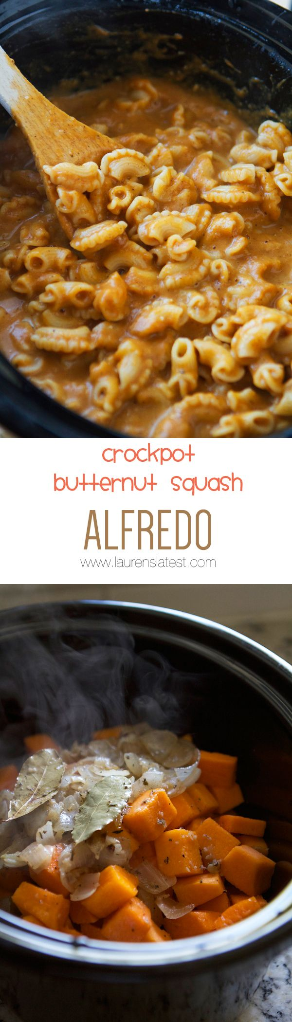 Crockpot Butternut Squash Alfredo....sweet, creamy, cheesy and OMG so so so EASY!