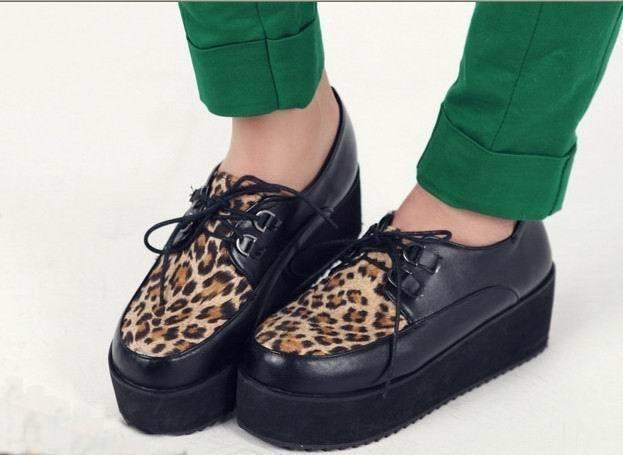 British Leopard Lace Up Punk Goth High Platform Flat Creeper Shoes SIZE:34-43 | eBay