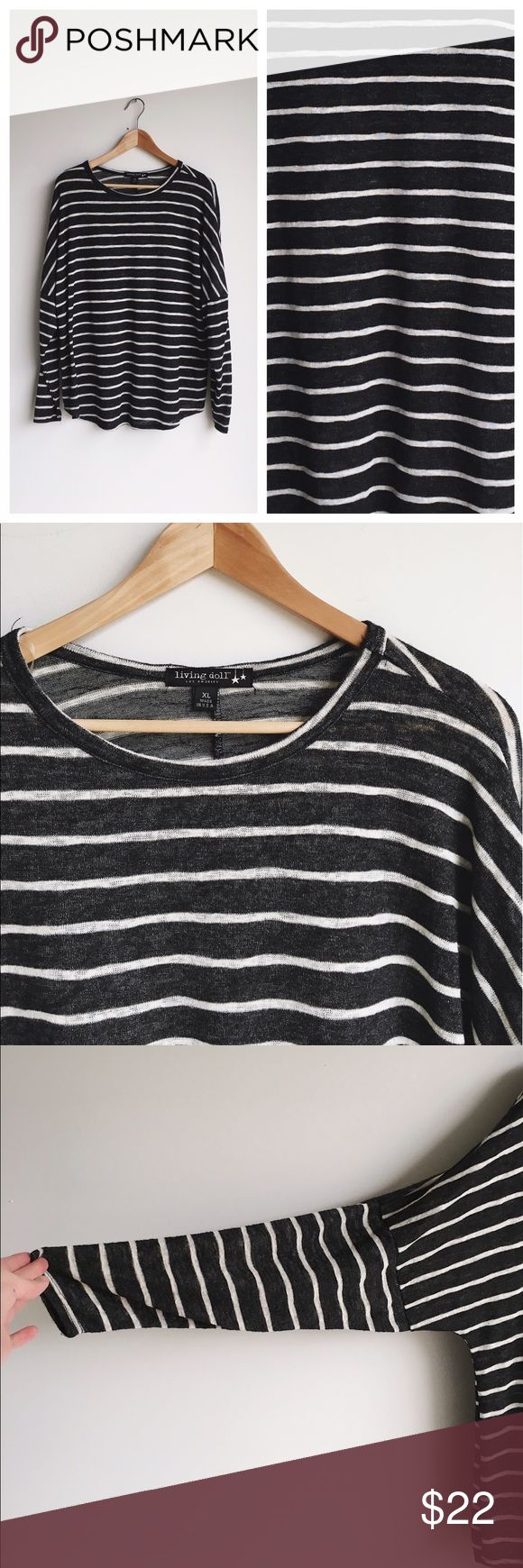 """Black and white striped slouchy tee Casual, comfy, and so cute! 25"""" bust, 26"""" length, 3/4 sleeves with a loose dolman fit. Tops"""